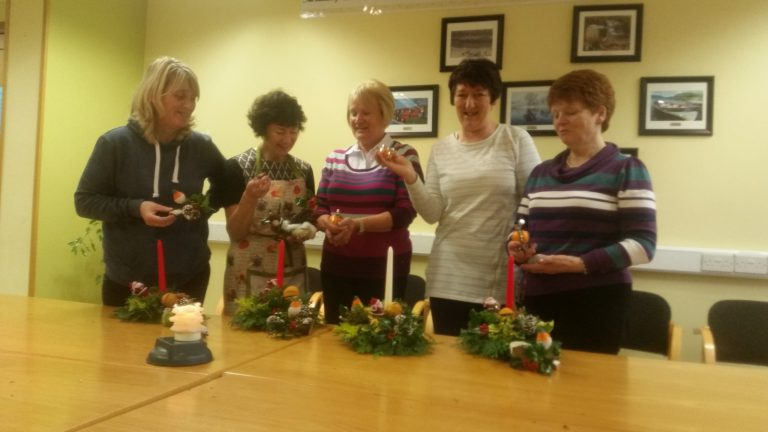 Members Enjoy Christmas Flower Arranging