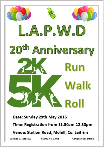 20th anniversary Run, Walk or Roll