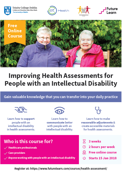 Free online course from Trinity College Dublin aims to improve health assessments for people with an intellectual disability