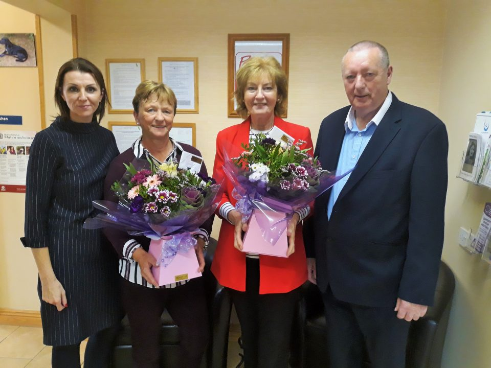 Karen Mc Partland (Manager), Bernie McGovern (18 years Service), Marie McGuinness ( 21 years service)  and Kevin McGill ( chair person)