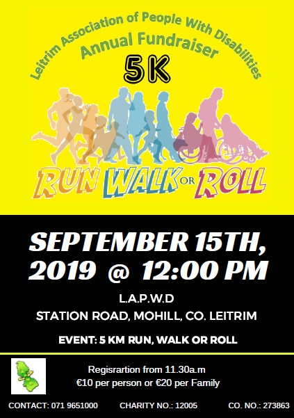 People running, walking and rolling. Poster for event, all information displayed is also contained in post text.